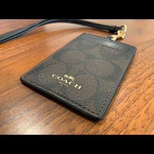 Coach signature lanyard wallet